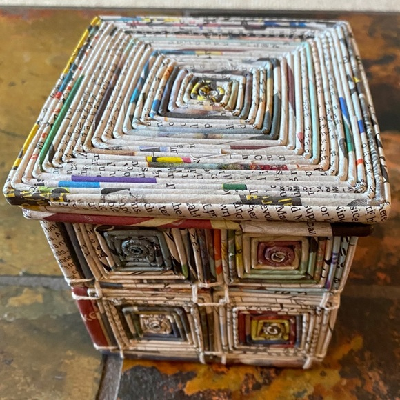 Recycled Newspaper Medallion Box